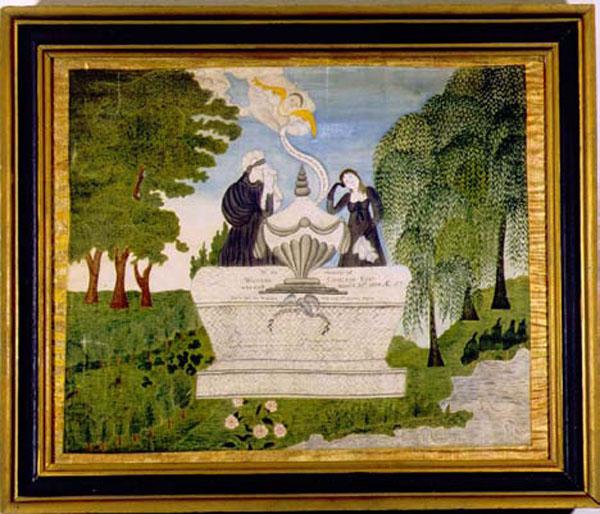 Lucy Chillson watercolor on silk memorial antique sampler from Carol & Stephen Huber