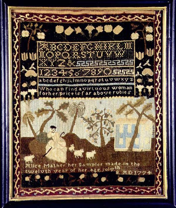 Alice Mather antique sampler from Carol & Stephen Huber