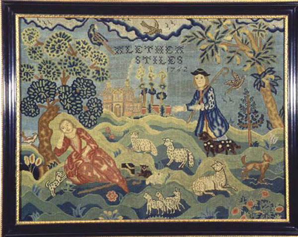 Alethea Stiles antique tent stitch picture sampler from Carol & Stephen Huber