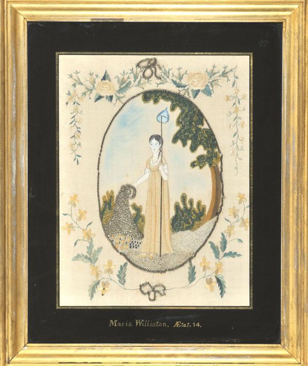 Maria Williston silk embroidery antique sampler from Carol & Stephen Huber